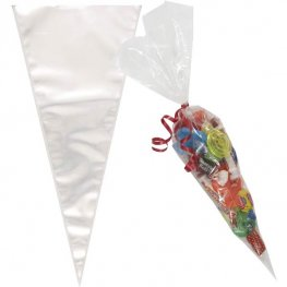 Clear Large Cone Cello Bags 25pk