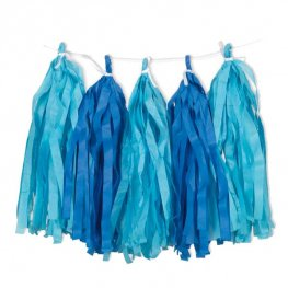 Blue Tissue Tassel Garland