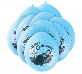 "9"" Baby Christening Blue Latex Balloons 5 Packs Of 10"