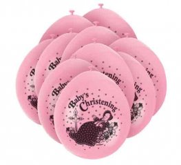 "9"" Baby Christening Pink Latex Balloons 5 Packs Of 10"