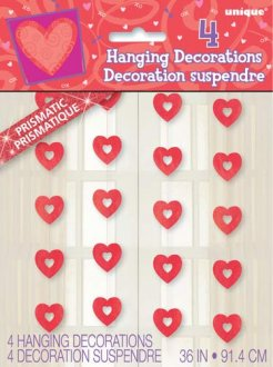 Red Prism Heart Hanging Decorations 4pk