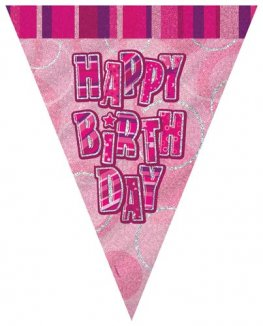 Happy Birthday Pink Glitz Pennant Banner