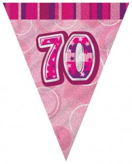 Age 70 Pink Glitz Pennant Banner