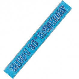Happy 16th Birthday Blue Glitz Banner