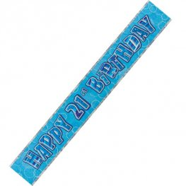 Happy 21st Birthday Blue Glitz Banner