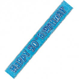 Happy 50th Birthday Blue Glitz Banner