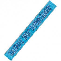 Happy 70th Birthday Blue Glitz Banner