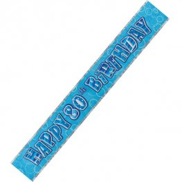 Happy 80th Birthday Blue Glitz Banner