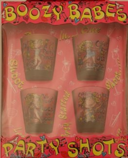 Boozy Babe Shot Glasses x4