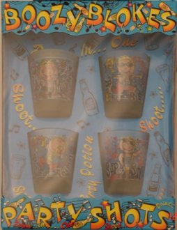 Boozy Bloke Shot Glasses x4