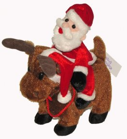 10 inch Moving Musical Rudolph and Santa