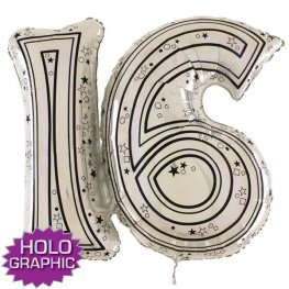 "31"" 16 Silver Jointed Number Shape Balloons"
