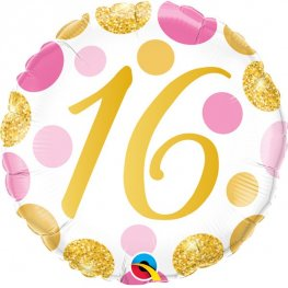 "18"" 16th Pink And Gold Dots Foil Balloons"