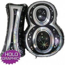 "31"" 18 Black Jointed Number Shape Balloons"