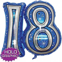 "31"" 18 Blue Jointed Number Shape Balloons"