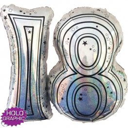 "31"" 18 Silver Jointed Number Shape Balloons"