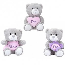 18cm Grey Mum Soft Toy Bear x1