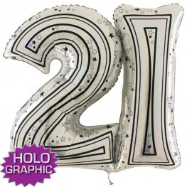 "31"" 21 Silver Jointed Number Shape Balloons"