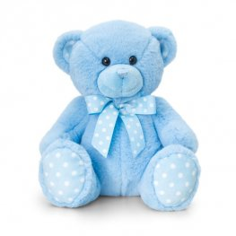 25cm Blue Baby Spotty Bear