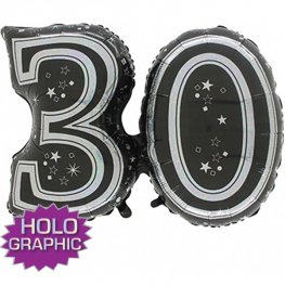 "31"" 30 Black Jointed Number Shape Balloons"
