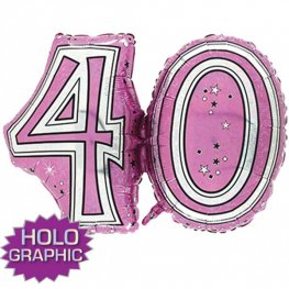 "31"" 40 Pink Jointed Number Shape Balloons"