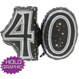 "31"" 40 Black Jointed Number Shape Balloons"