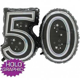 "31"" 50 Black Jointed Number Shape Balloons"