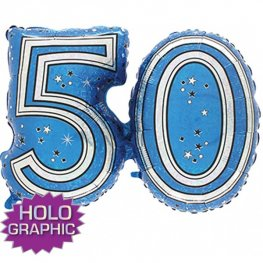 "31"" 50 Blue Jointed Number Shape Balloons"