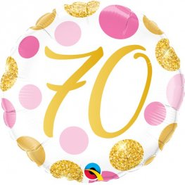 "18"" 70th Pink And Gold Dots Foil Balloons"