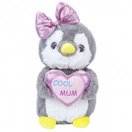 "9"" Penguin With Cool Mum Love Heart"