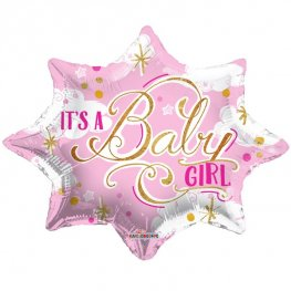 "20"" Its A Baby Girl Pink Foil Balloons"