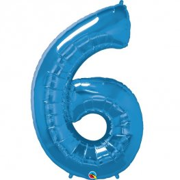 Qualatex Sapphire Blue Number 6 Supershape Balloons