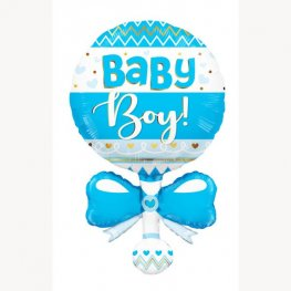 Blue Baby Boy Rattle Supershape Balloons