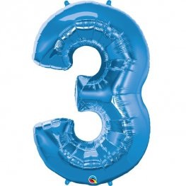 Qualatex Sapphire Blue Number 3 Supershape Balloons