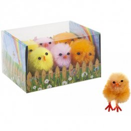 4cm Chenille Chicks Assorted Colour 6pk