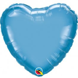 "18"" Chrome Blue Heart Foil Balloons"