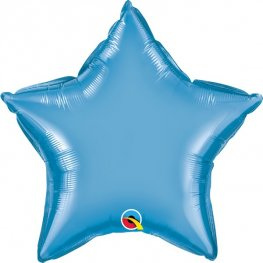 "20"" Chrome Blue Star Foil Balloons"