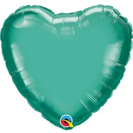 "18"" Chrome Green Heart Foil Balloons"