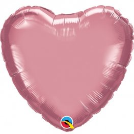 "18"" Chrome Mauve Heart Foil Balloons"