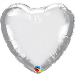 "18"" Chrome Silver Heart Foil Balloons"