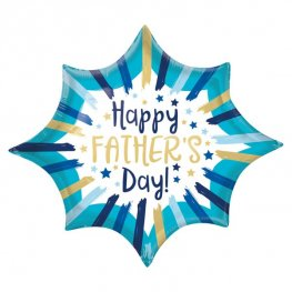 Happy Fathers Day Painted Stripes Supershape Balloons