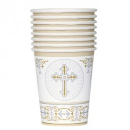 9oz Gold & Silver Radiant Cross Paper Cups 8pk