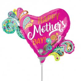 "9"" Happy Mothers Day Paisley Air Fill Balloons"