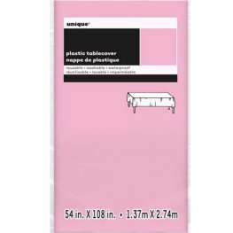 Pale Pink Rectangle Plastic Tablecover