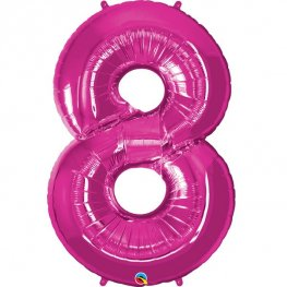 Qualatex Magenta Pink Number 8 Supershape Balloons