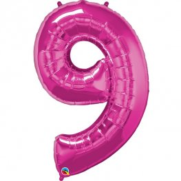 Qualatex Magenta Pink Number 9 Supershape Balloons