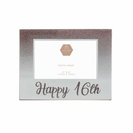 Happy 16th Birthday Rose Gold Glass Frame
