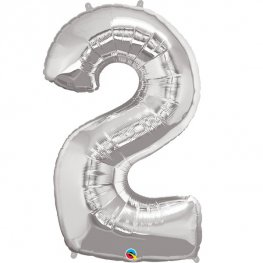 Qualatex Silver Number 2 Supershape Balloons