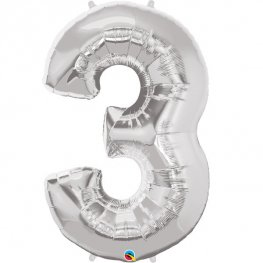 Qualatex Silver Number 3 Supershape Balloons