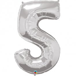 Qualatex Silver Number 5 Supershape Balloons